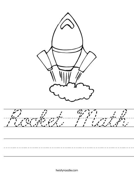 Rocket Math Worksheet Cursive Twisty Noodle
