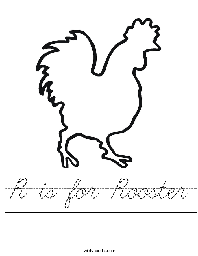 R is for Rooster Worksheet