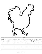 R is for Rooster Handwriting Sheet