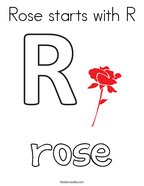 Rose starts with R Coloring Page