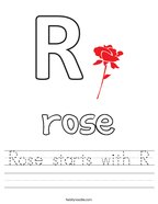 Rose starts with R Handwriting Sheet