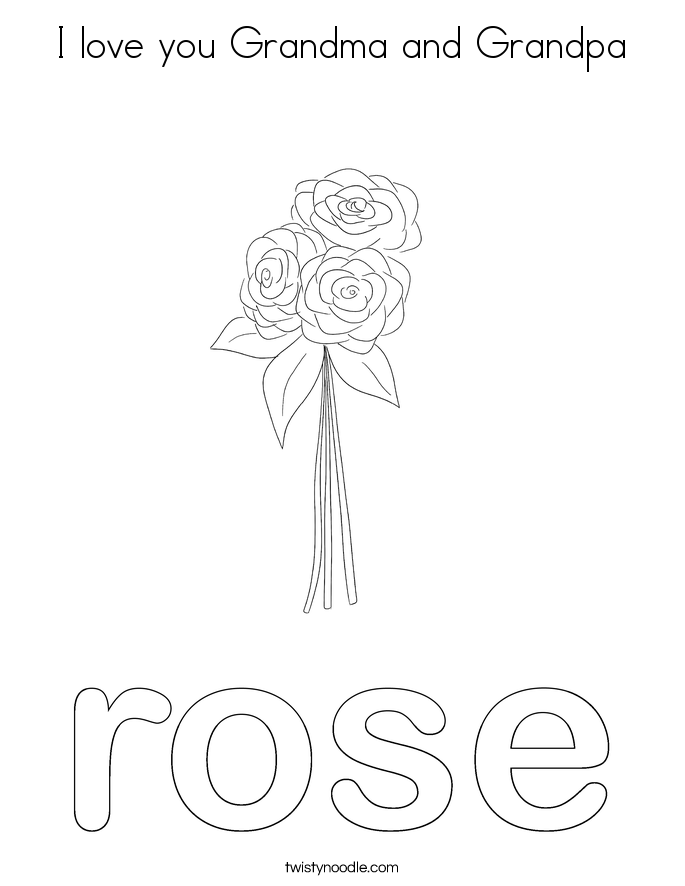 I love you Grandma and Grandpa Coloring Page