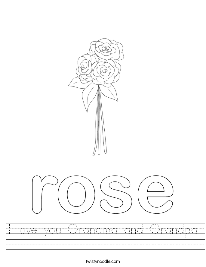 I love you Grandma and Grandpa Worksheet