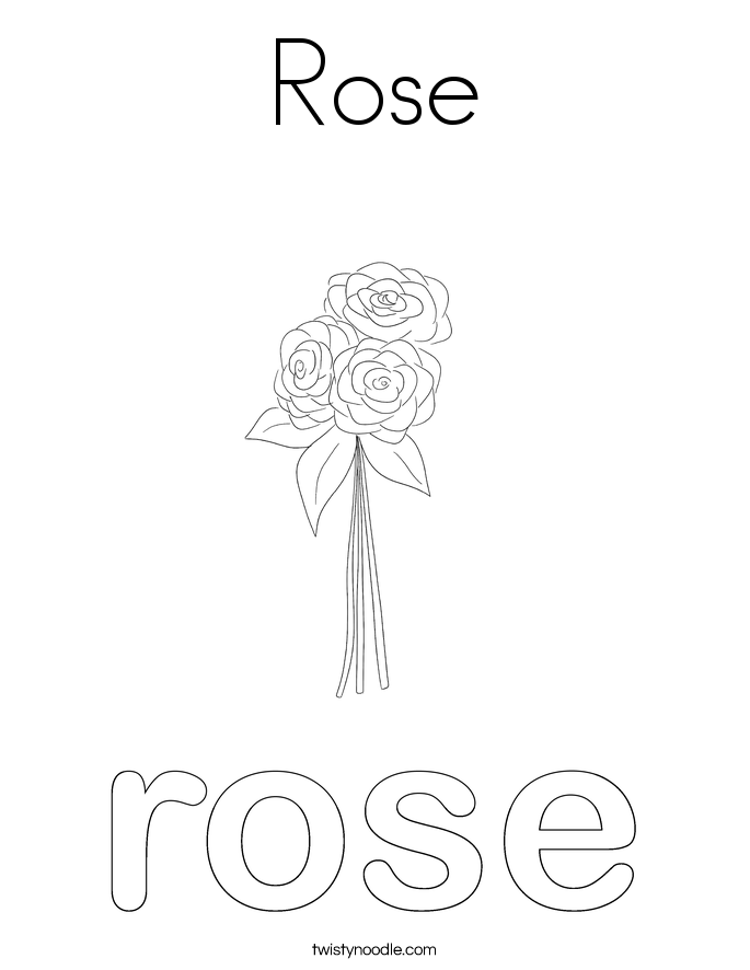 Rose Coloring Page Twisty Noodle