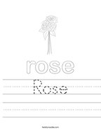 Rose Handwriting Sheet