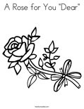 "A Rose for You ""Dear"" Coloring Page"