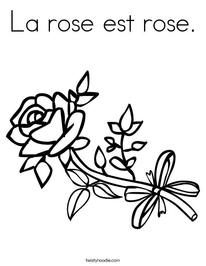 La rose est rose. Coloring Page