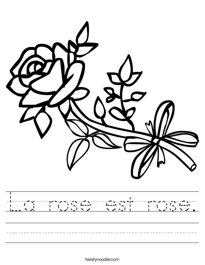 La rose est rose. Worksheet