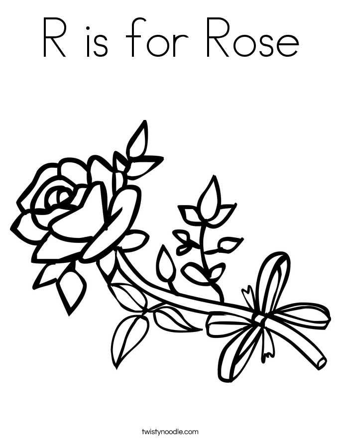 R Is For Rose Coloring Page.