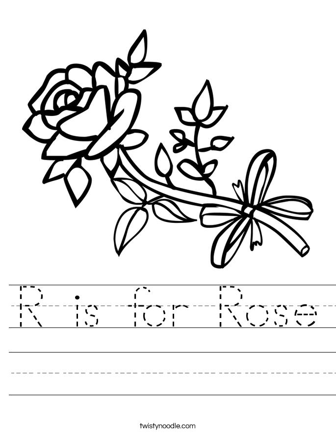 R is for Rose Worksheet