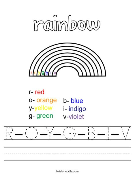 ROYGBIV Worksheet