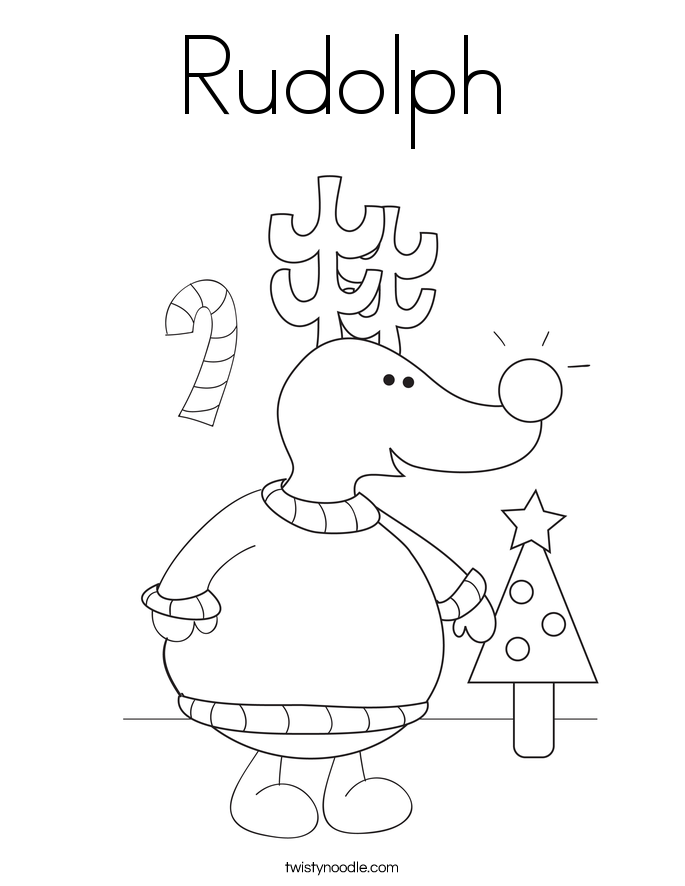 Rudolph Coloring Page - Twisty Noodle