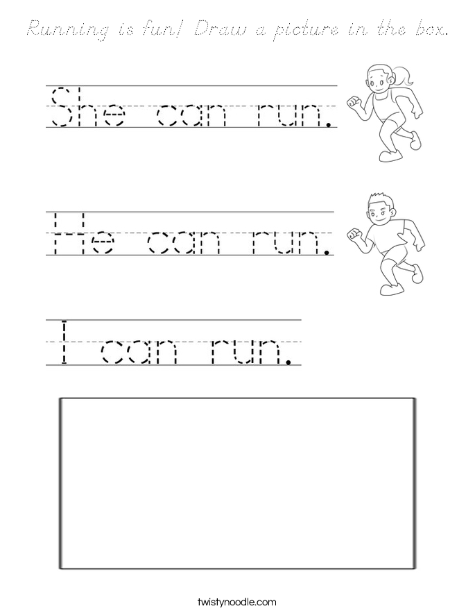 Running is fun! Draw a picture in the box. Coloring Page
