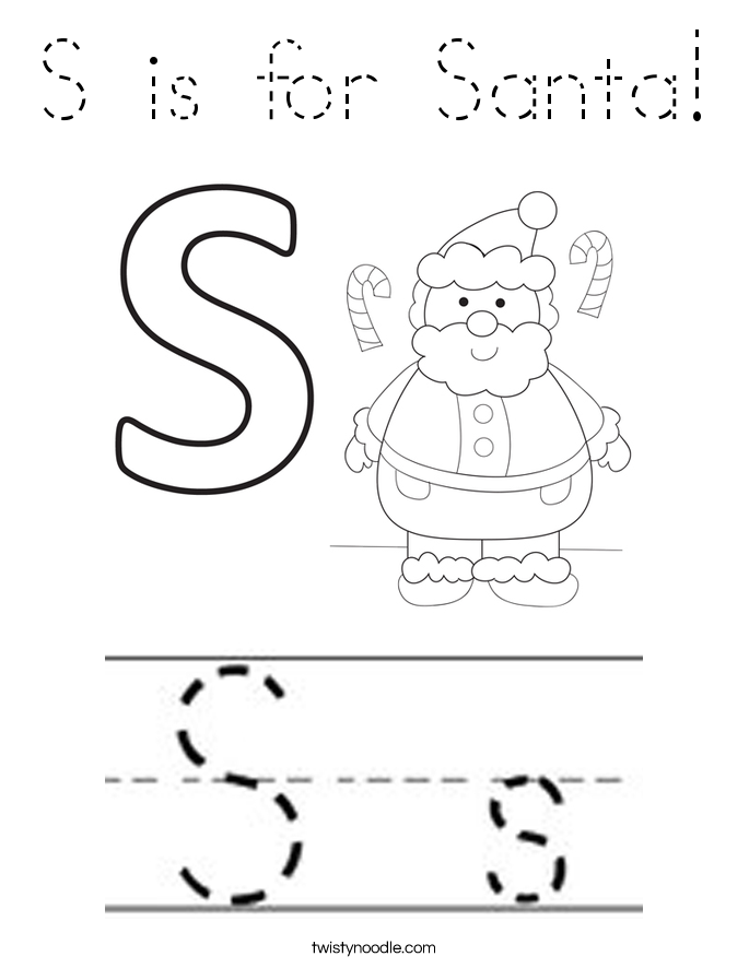 S is for Santa! Coloring Page