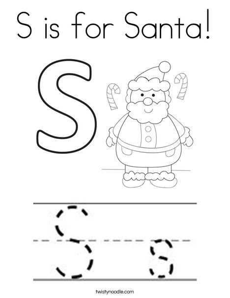 S is for Santa Coloring Page - Twisty Noodle