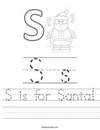 S is for Santa Handwriting Sheet