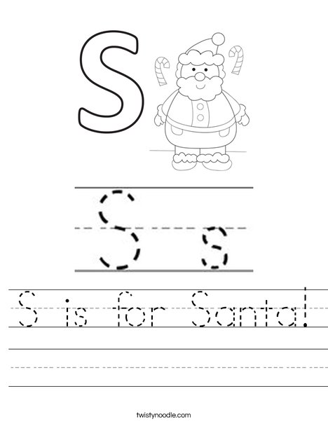S is for Santa Worksheet
