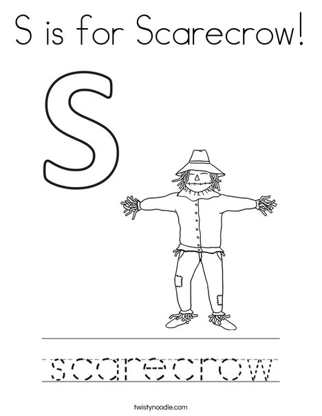 S is for Scarecrow Coloring Page Twisty Noodle