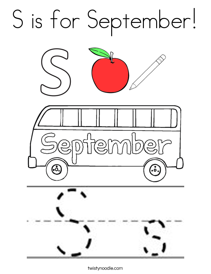 s is for september coloring page - September Coloring Pages