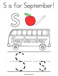 S is for September! Coloring Page