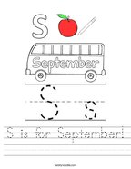 S is for September Handwriting Sheet