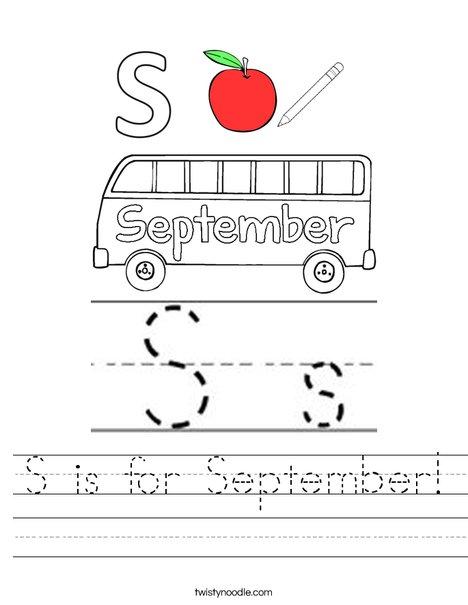 S is for September Worksheet