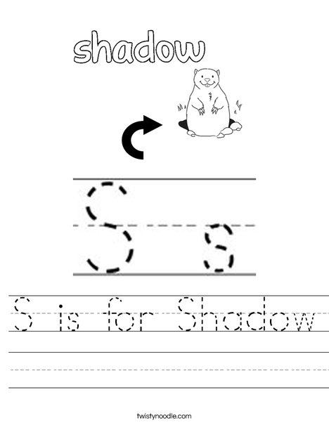 S is for Shadow Worksheet
