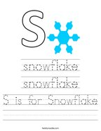 S is for Snowflake Handwriting Sheet
