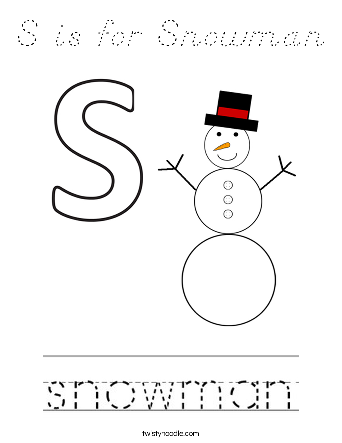 S is for Snowman Coloring Page