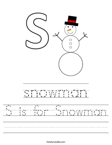 S is for Snowman Worksheet