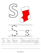 S is for Stocking Handwriting Sheet
