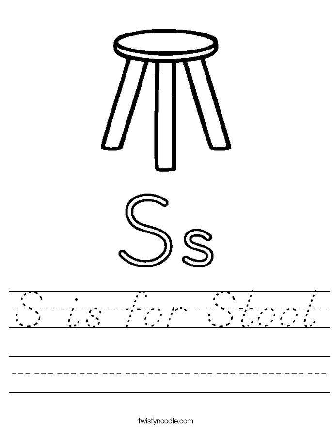 S is for Stool Worksheet