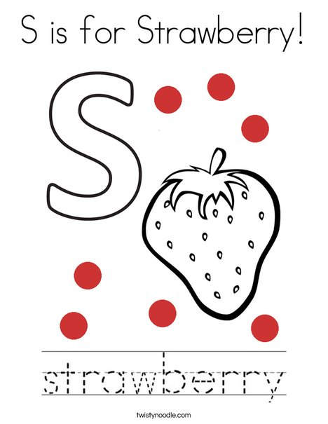 S is for Strawberry Coloring Page - Twisty Noodle