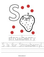 S is for Strawberry Handwriting Sheet