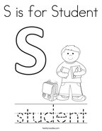 S is for Student Coloring Page
