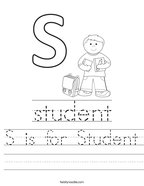 S is for Student Handwriting Sheet