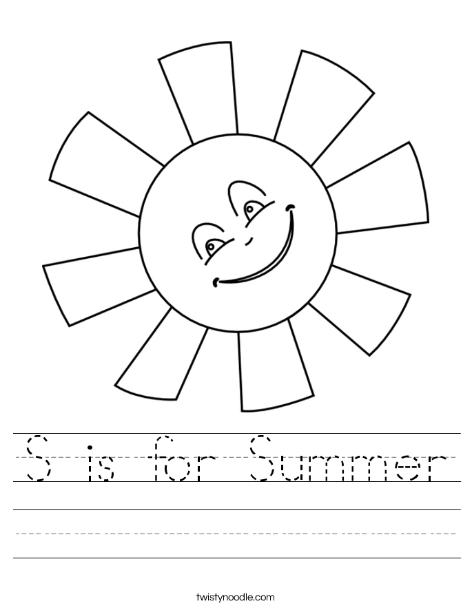 S is for Summer Worksheet
