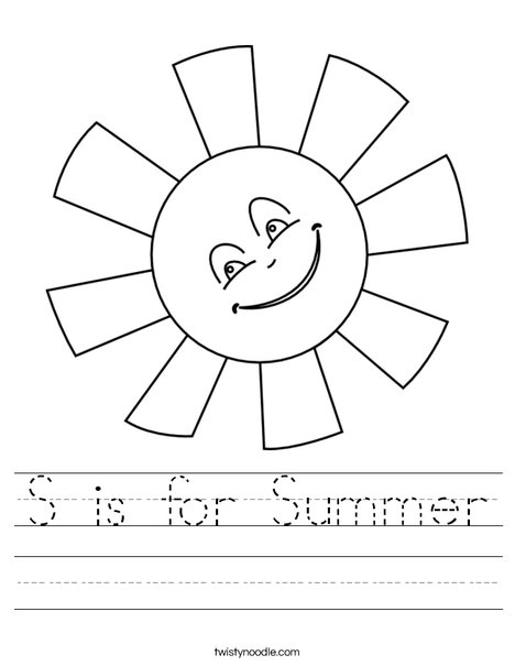 Printables Summer Worksheets s is for summer worksheet twisty noodle sun worksheet