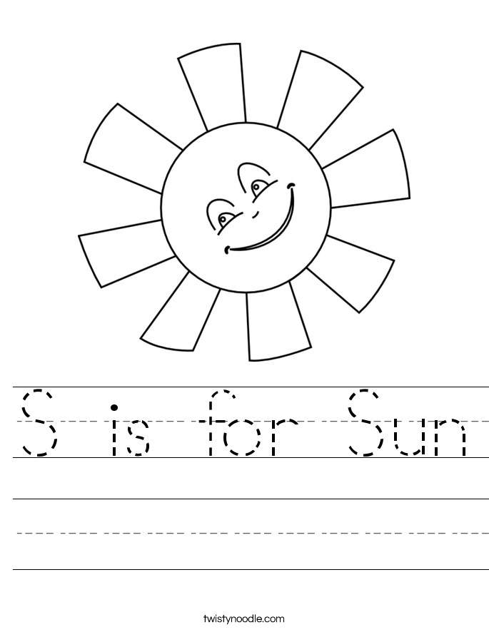 S is for Sun Worksheet Twisty Noodle – Sun Worksheet