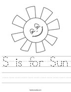 S is for Sun Handwriting Sheet