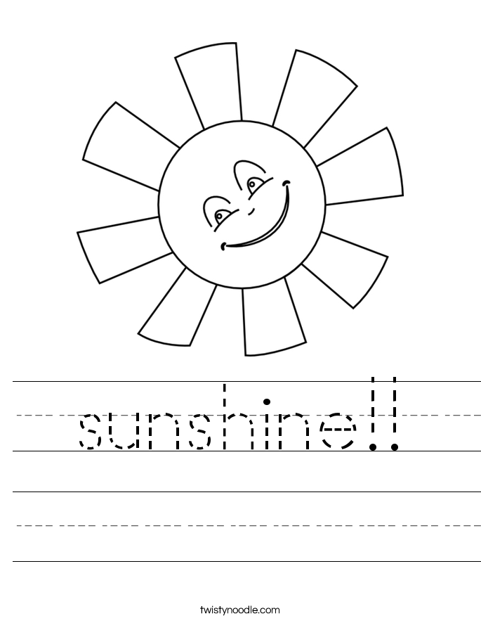 sunshine!! Worksheet