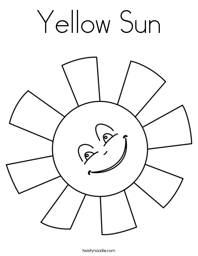 Yellow Sun Coloring Page