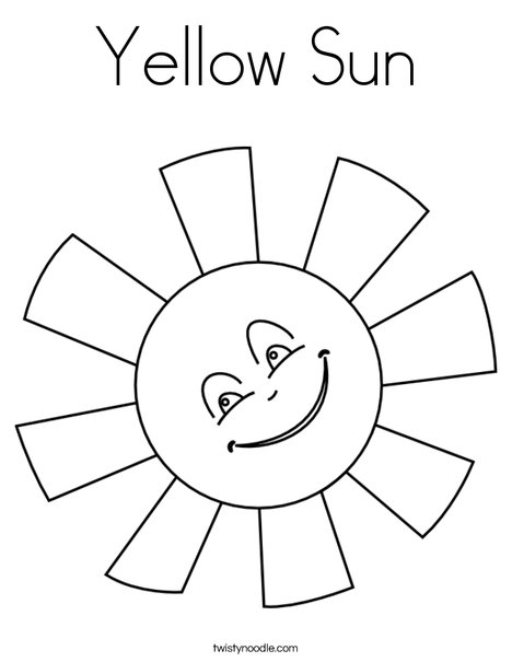 Yellow Sun Coloring Page - Twisty Noodle