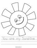 You are my Sunshine Worksheet