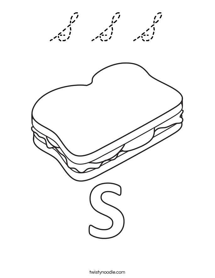 Cursive s coloring pages ~ S S S Coloring Page - Cursive - Twisty Noodle