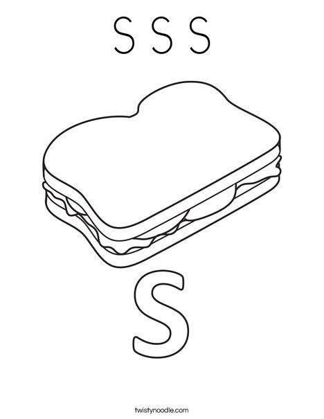 S Sandwich Coloring Page