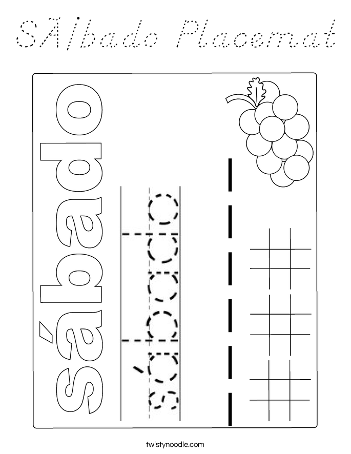 Sábado Placemat Coloring Page