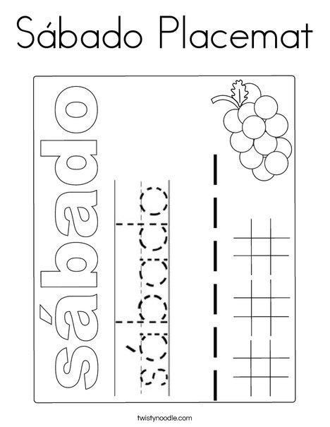 Sabado Placemat Coloring Page