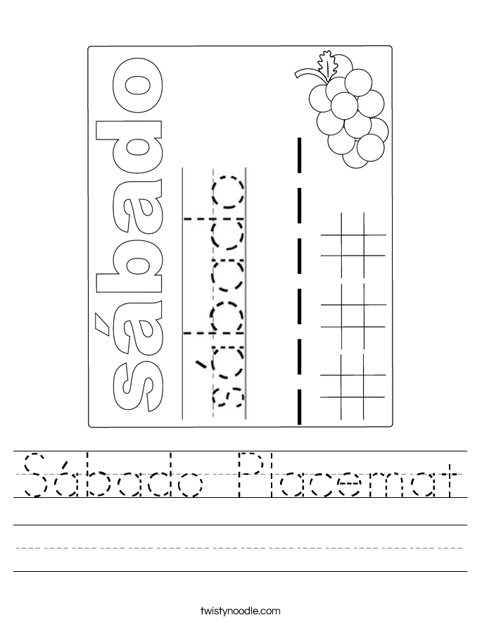 Sábado Placemat Worksheet