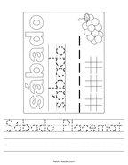 Sábado Placemat Handwriting Sheet